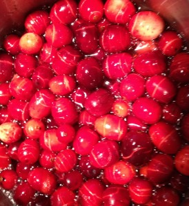 boiling cranberries for homemade sauce